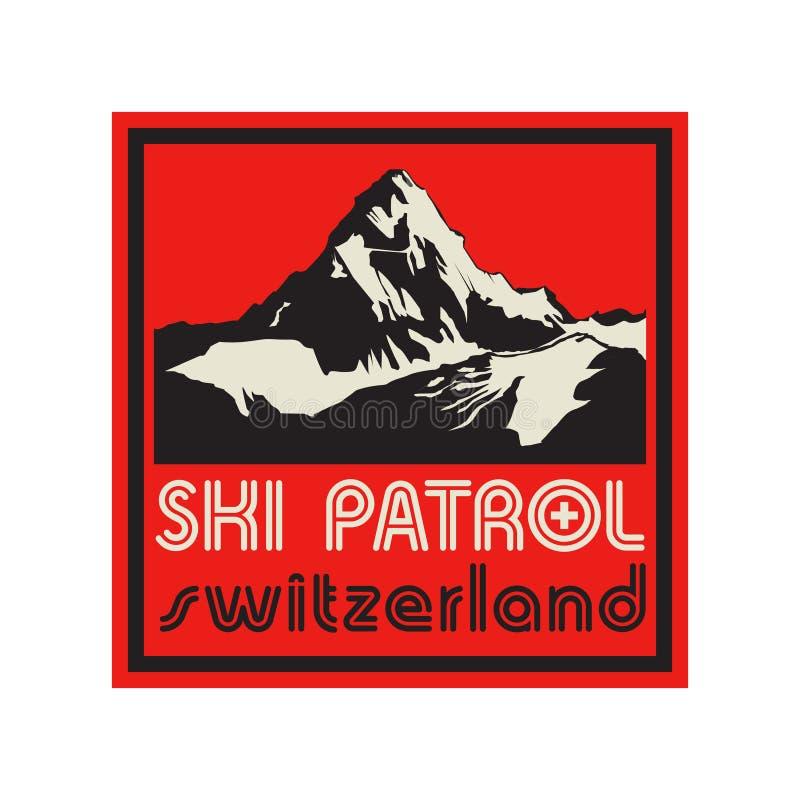 Bergteken of symbool met tekst Ski Patrol, Zwitserland vector illustratie