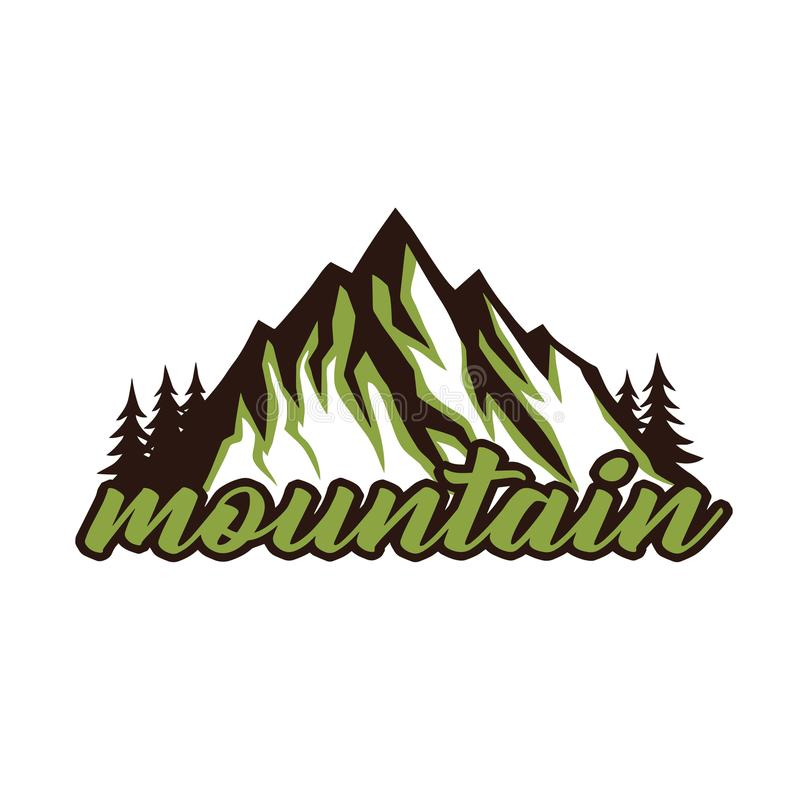 Bergutforskare Adventure Badge Vector Logo Template Design royaltyfri illustrationer