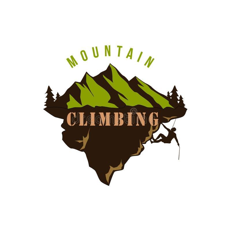 Bergutforskare Adventure, klättring, extrem sport, kontur, emblemvektordesign vektor illustrationer
