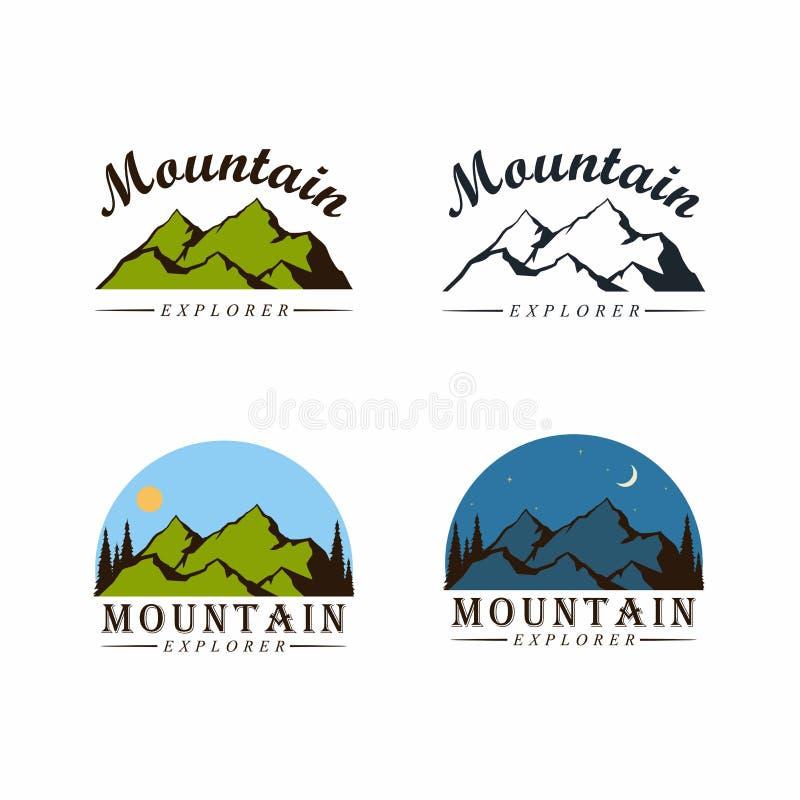 Bergutforskare Adventure Logo, tecken, för vektordesign för emblem plan uppsättning vektor illustrationer