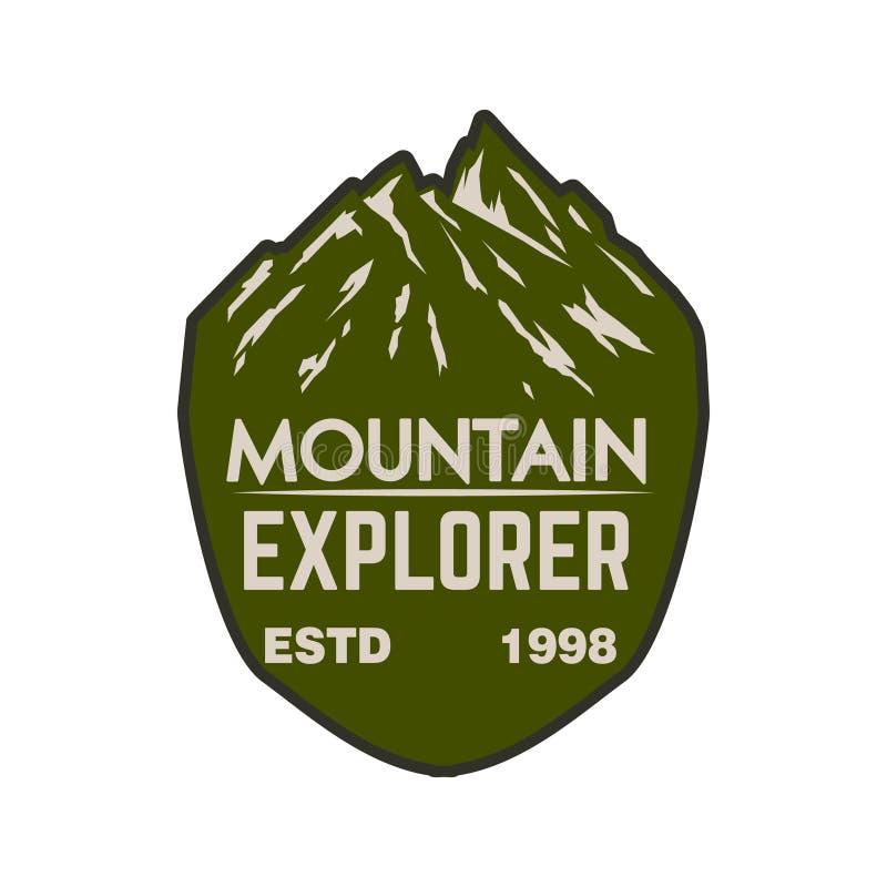 Bergutforskare Emblemmall med bergmaximumet Planlägg beståndsdelen för logoen, etiketten, emblemet, tecken royaltyfri illustrationer