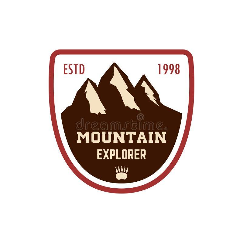 Bergutforskare Emblemmallen med vaggar maximumet Planlägg beståndsdelen för logoen, etiketten, emblemet, tecknet, affisch vektor illustrationer