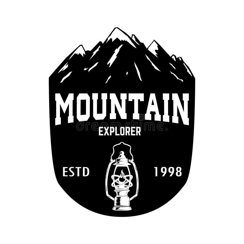 Bergutforskare Emblemmallen med vaggar maximumet Planlägg beståndsdelen för logoen, etiketten, emblemet, tecknet, affisch stock illustrationer