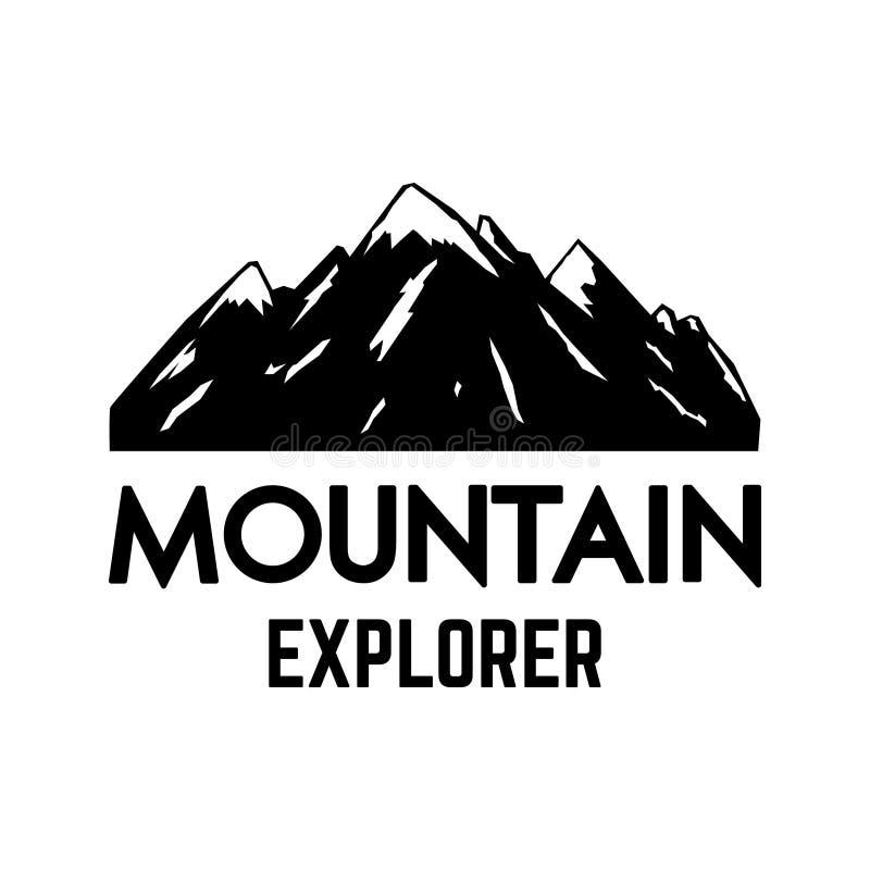 Bergutforskare Emblemmallen med vaggar maximumet Planlägg beståndsdelen för logoen, etiketten, emblemet, tecknet, affisch royaltyfri illustrationer