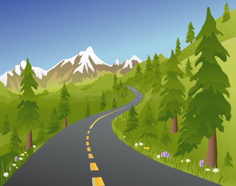 bergvägsommar stock illustrationer