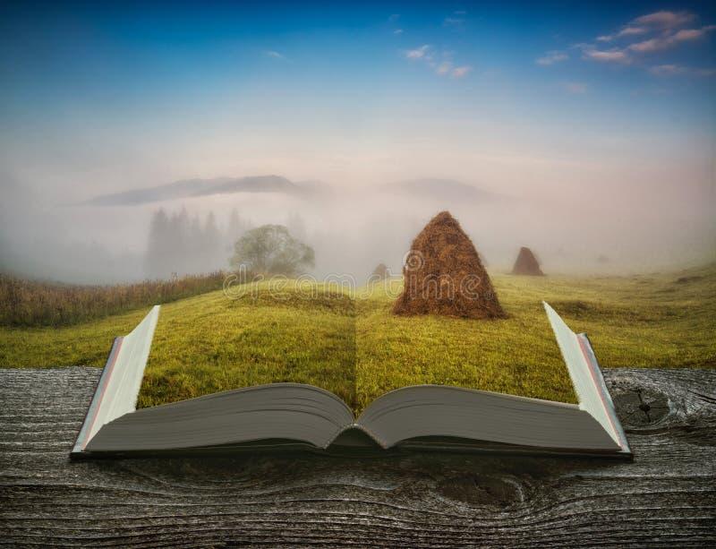 Bergvallei met hooibergen op de pagina's van boek stock afbeeldingen