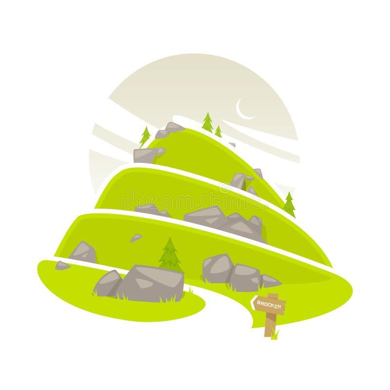 Bergweg vector illustratie