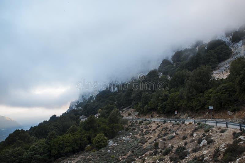 Bergweg op het Eiland Sardinige royalty-vrije stock foto's