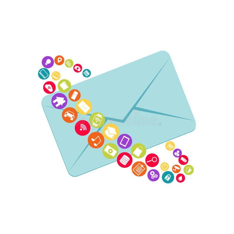 Bericht abstract symbool E-mail Digitale Marketing De berichten van verschillende media royalty-vrije illustratie
