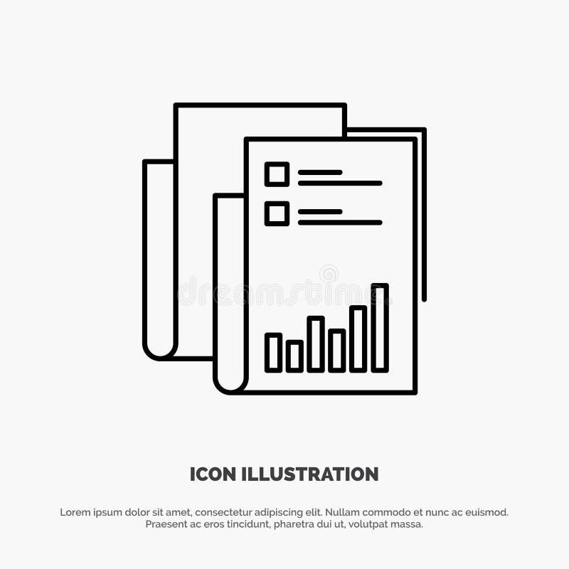 Bericht, Analytics, Rechnungsprüfung, Geschäft, Daten, Marketing, Papierlinie Ikonen-Vektor vektor abbildung