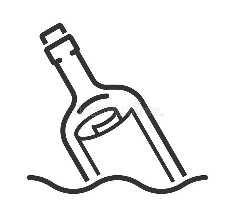 Bericht in een de stijlpictogram van de flessenlijn royalty-vrije illustratie