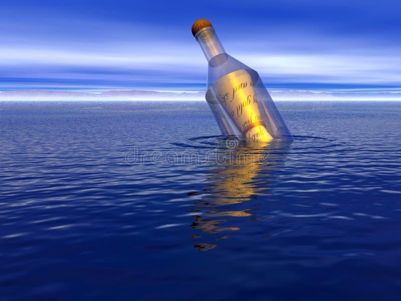 Bericht in een fles   stock illustratie