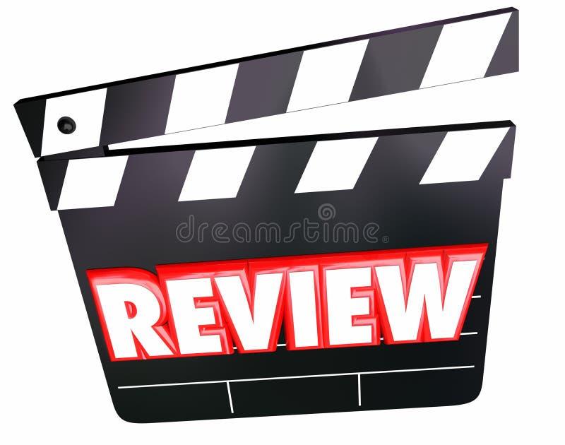 Bericht-Film-Scharnierventil-Film-Kritiker-Bewertungs-Kommentar-Meinungen vektor abbildung