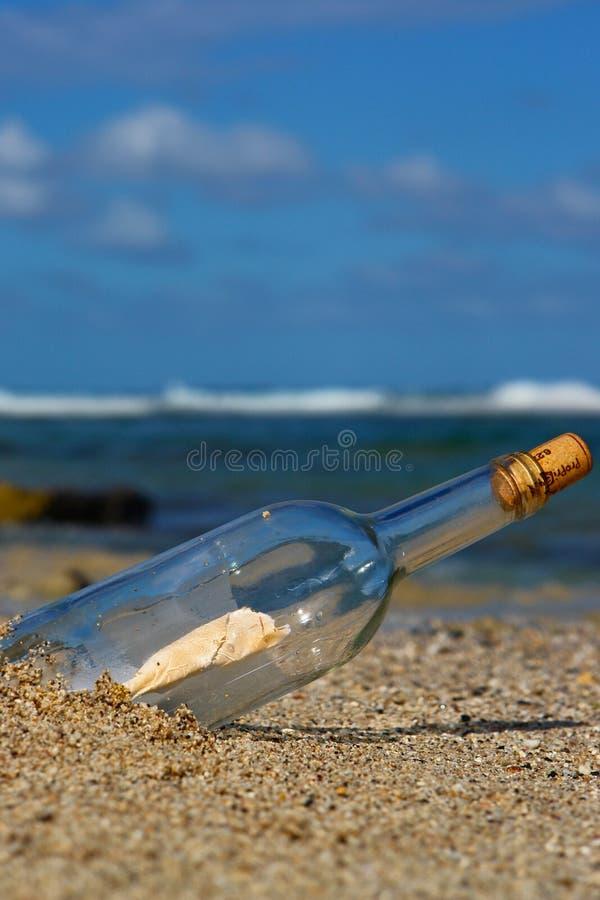 Bericht in fles royalty-vrije stock fotografie