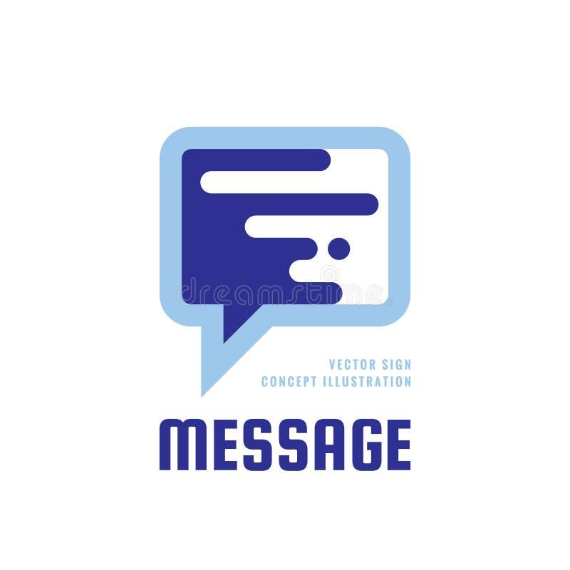 Bericht - illustratie van het het embleemconcept van toespraakbellen de vector in vlakke stijl Dialoog sprekend pictogram praatje royalty-vrije illustratie