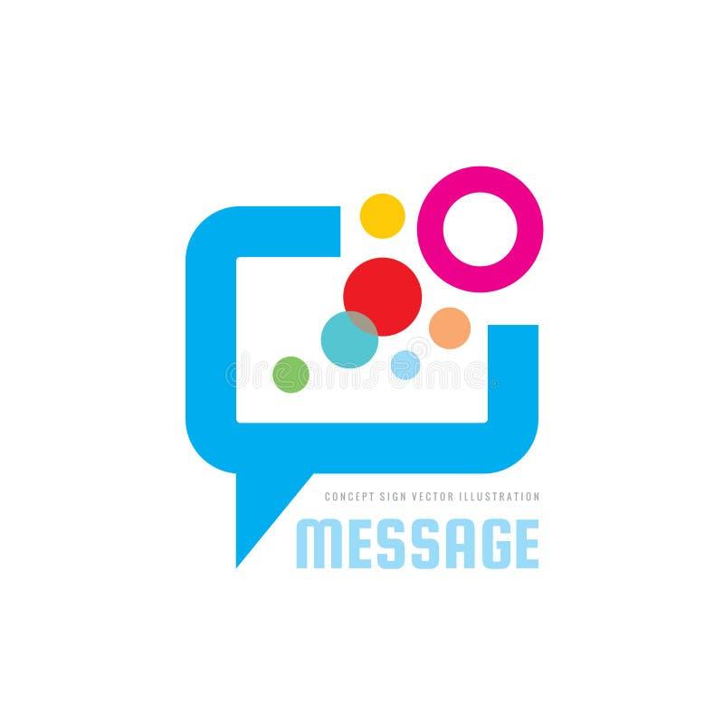 Bericht - illustratie van het het embleemconcept van toespraakbellen de vector in vlakke stijl Dialoog sprekend pictogram praatje stock illustratie