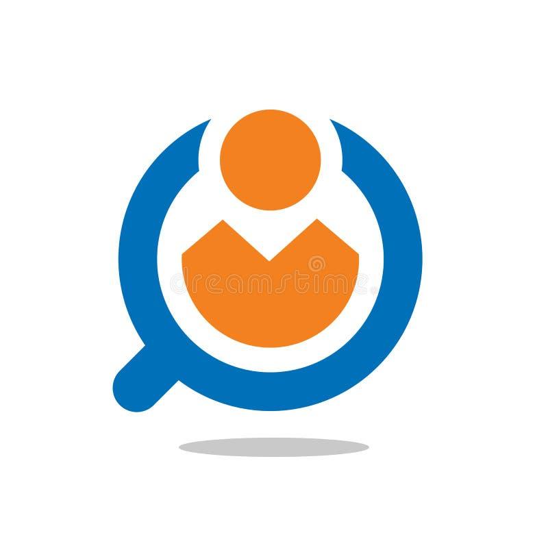 Bericht, kontrollieren, Job, Lupenikonenvektor-Logodesign lizenzfreie abbildung