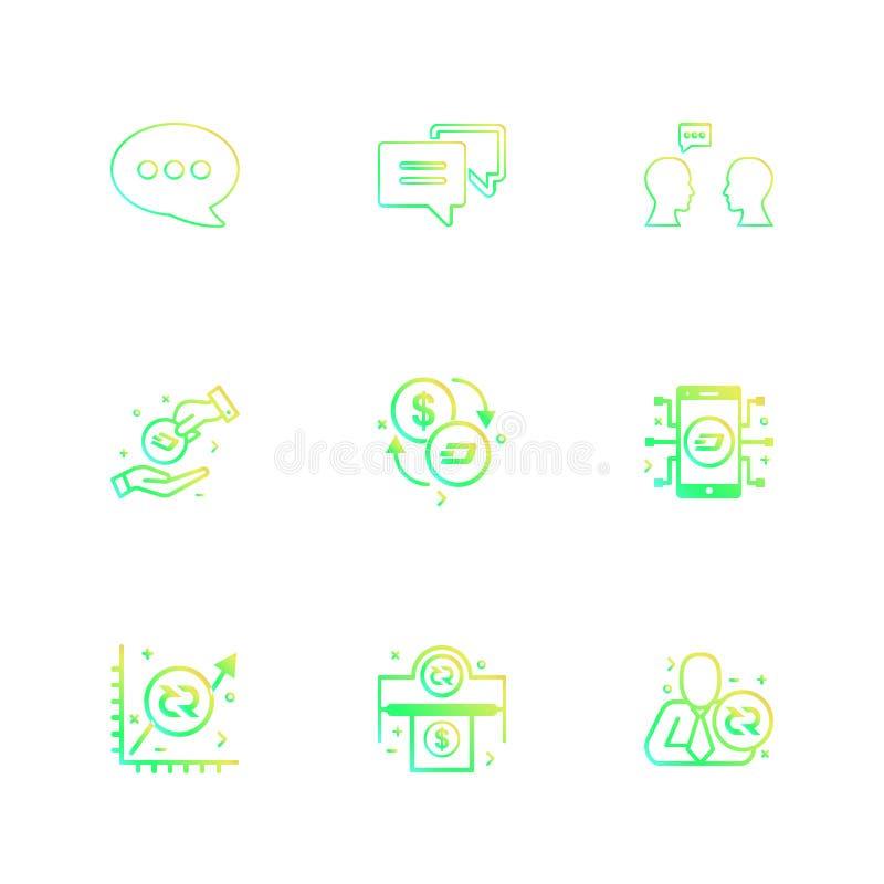 bericht, praatje, mobiel gesprek, munt, grafiek, geld vector illustratie