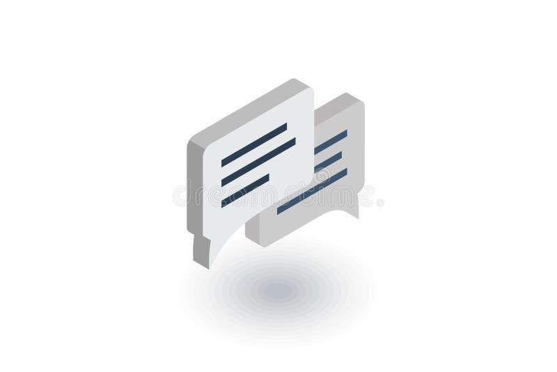 Bericht, praatje, toespraakbel, bespreking, dialoog isometrisch vlak pictogram 3d vector royalty-vrije illustratie