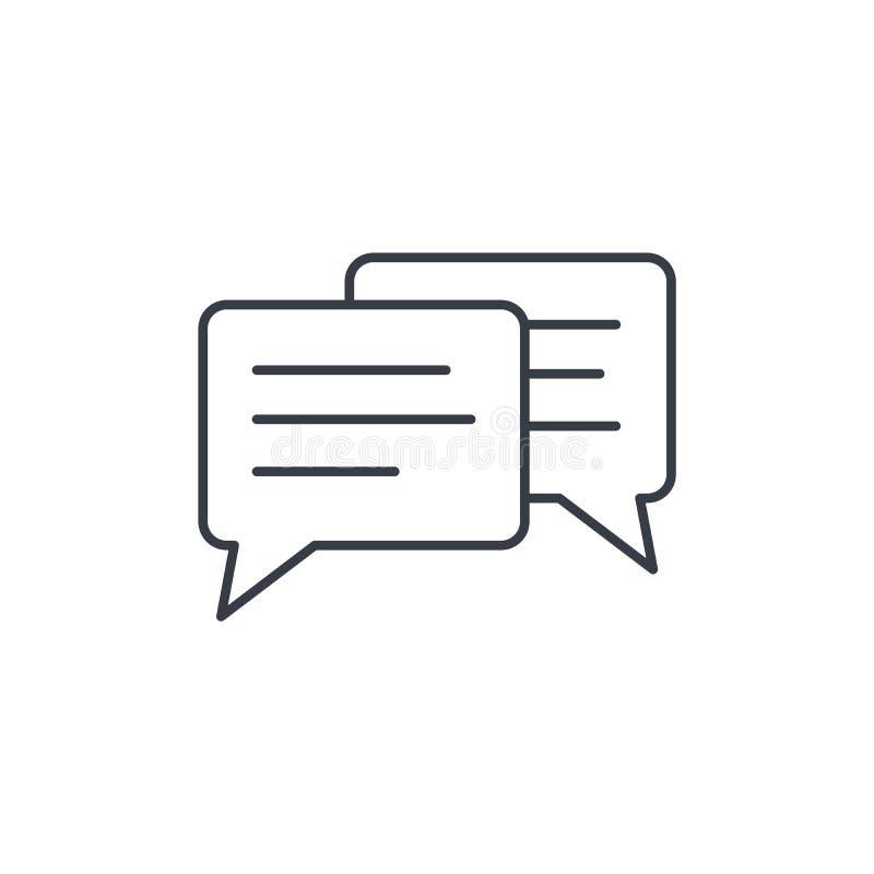 Bericht, praatje, toespraakbel, bespreking, pictogram van de dialoog het dunne lijn Lineair vectorsymbool vector illustratie