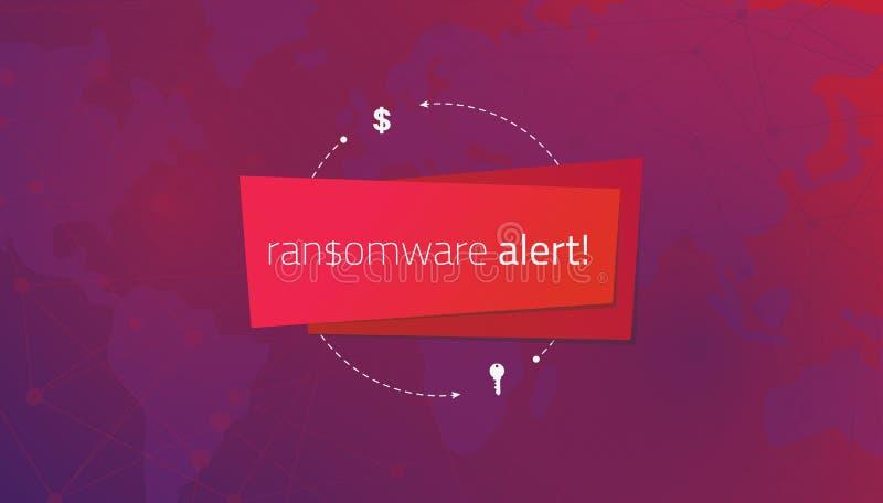 Bericht ransomware alarm op de achtergrond van een wereldkaart stock illustratie