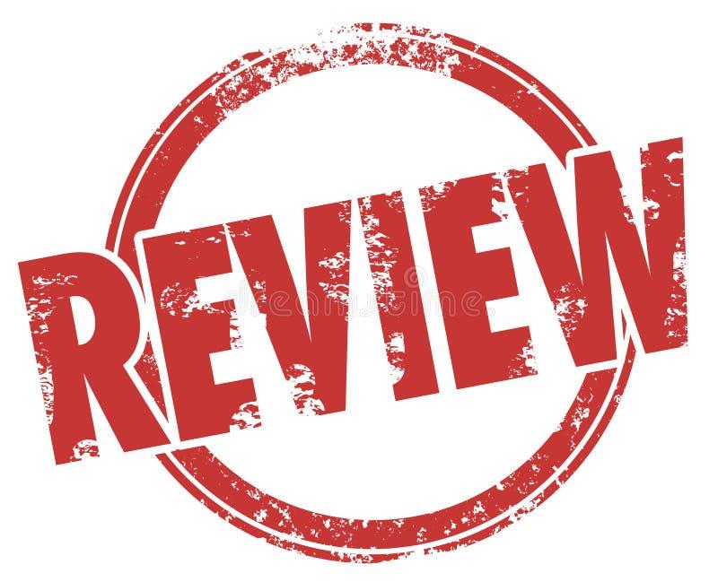 Bericht-Stempel-Wort-Kreis-Produkt-Bewertungs-Kritik lizenzfreie abbildung