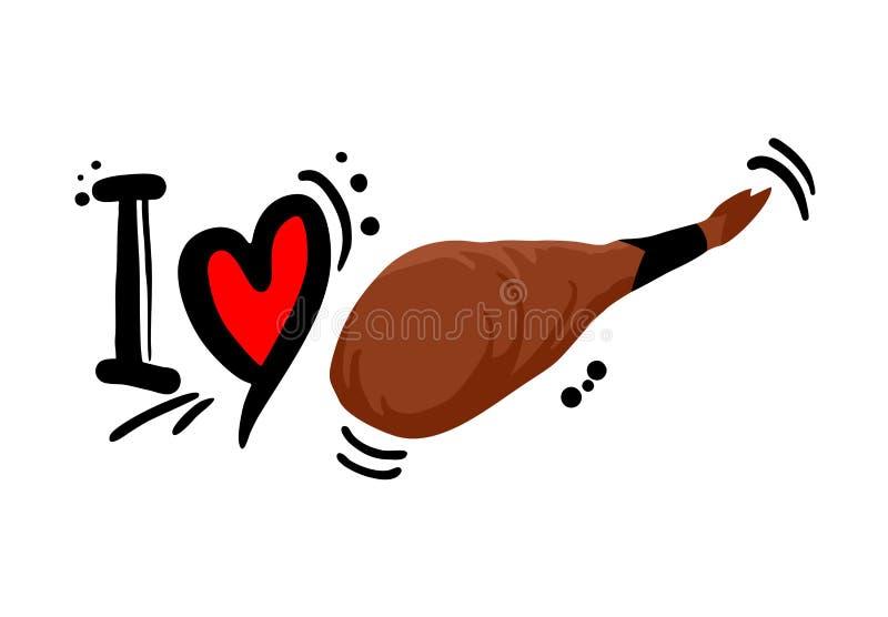 Bericht van de liefde het Iberische ham royalty-vrije illustratie