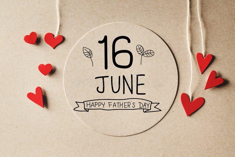 16 bericht van de de Vadersdag van Juni het Gelukkige met kleine harten vector illustratie