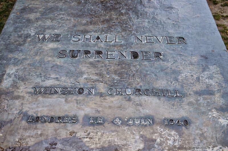 Bericht van Sir Winston Churchill stock afbeeldingen