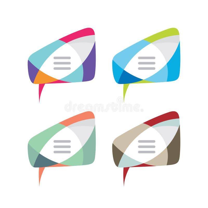 Bericht - vector het conceptenillustratie van het embleemmalplaatje Het creatieve teken van de toespraakbel in vier kleurenvariat royalty-vrije illustratie
