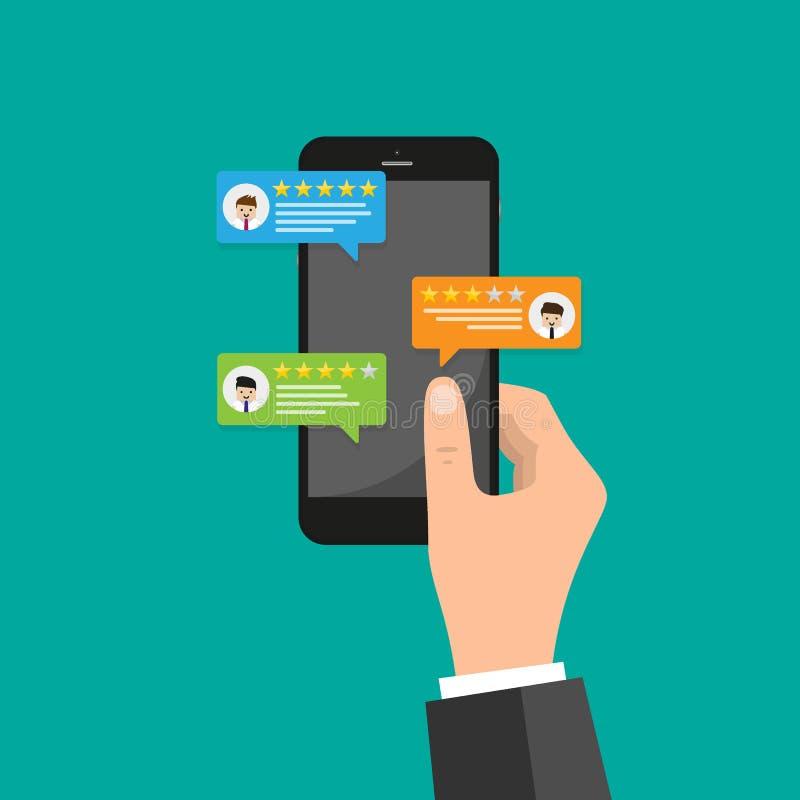 Berichtbewertung auf Handyvektorillustration, Karikatur isometrischer Smartphone online wiederholt Ratensterne, Konzept von Huldi lizenzfreie abbildung