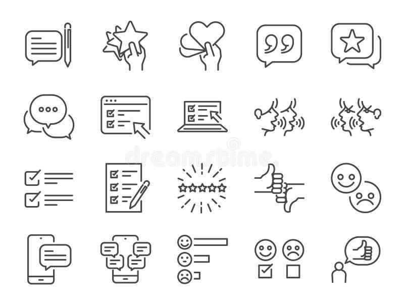 Berichte zeichnen Ikonensatz Eingeschlossene Ikonen als Berichtergebnis, Feedback, Huldigung, Kommentar, Übersicht und mehr vektor abbildung