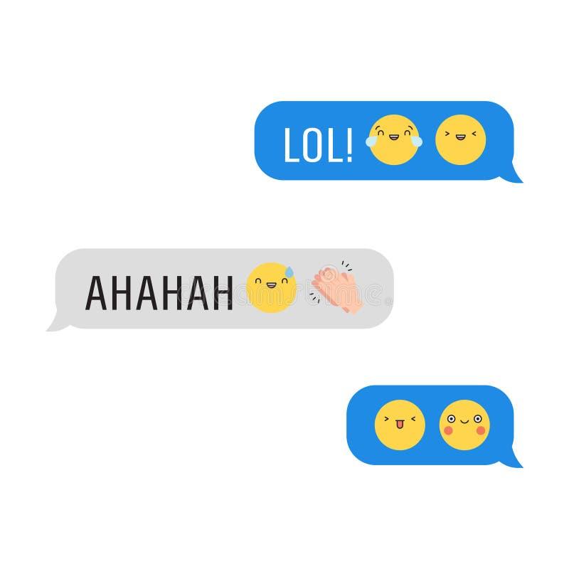 Berichten met leuke emoji en teksten Deel Drie royalty-vrije illustratie