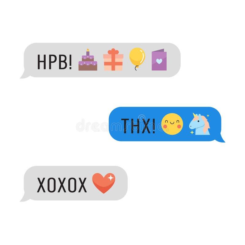 Berichten met leuke emoji en teksten Deel vier royalty-vrije illustratie