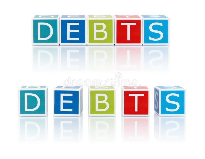 Berichten Sie über Themen mit Farbblöcken. Schulden. lizenzfreie stockbilder