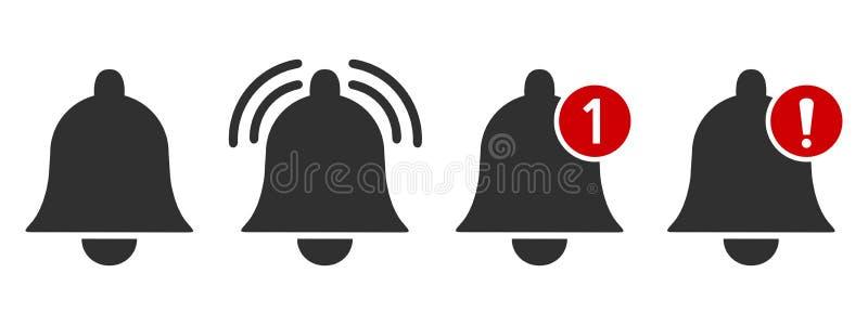 Berichtpictogram Waakzaam pictogram voor inkomend inboxbericht Bellend klok en berichtaantalteken voor smartphonetoepassing vector illustratie