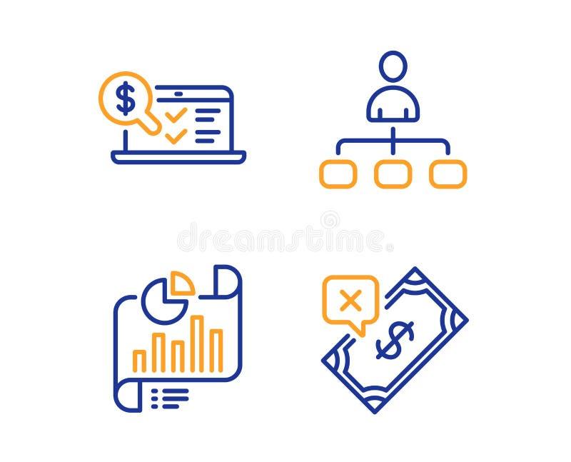 Berichtsdokument, Management und erklärender Ikonenon-line-satz Zurückgewiesenes Zahlungszeichen Vektor lizenzfreie abbildung