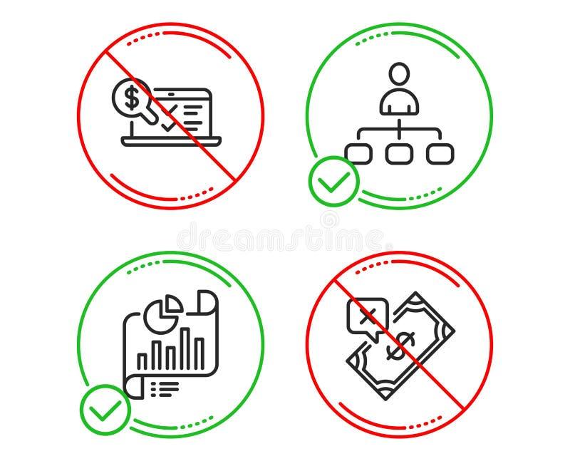 Berichtsdokument, Management und erkl?render Ikonenon-line-satz Zur?ckgewiesenes Zahlungszeichen Vektor stock abbildung