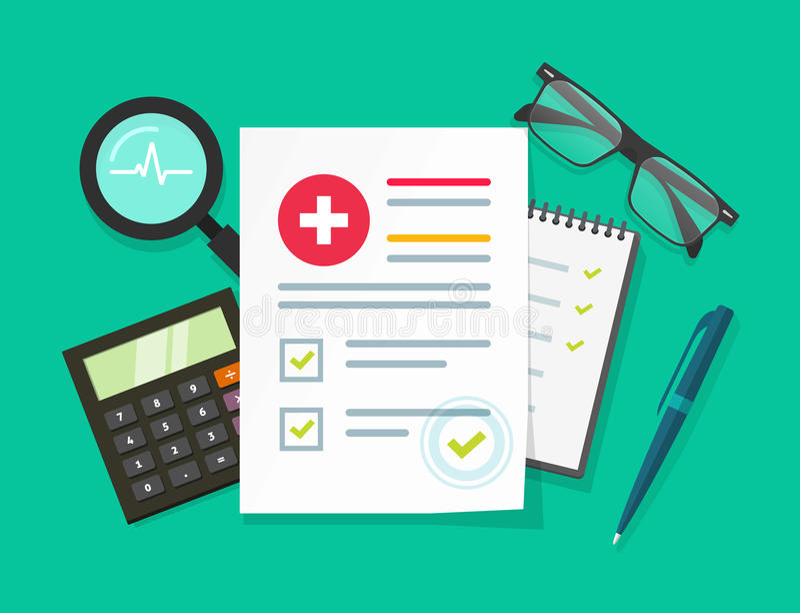 Berichtsvektorillustration der medizinischen Forschung, flache Karikaturgesundheit oder Krankenblattpapierdokument mit geduldigen vektor abbildung