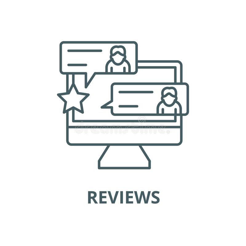 Berichtvektorlinie Ikone, lineares Konzept, Entwurfszeichen, Symbol stock abbildung