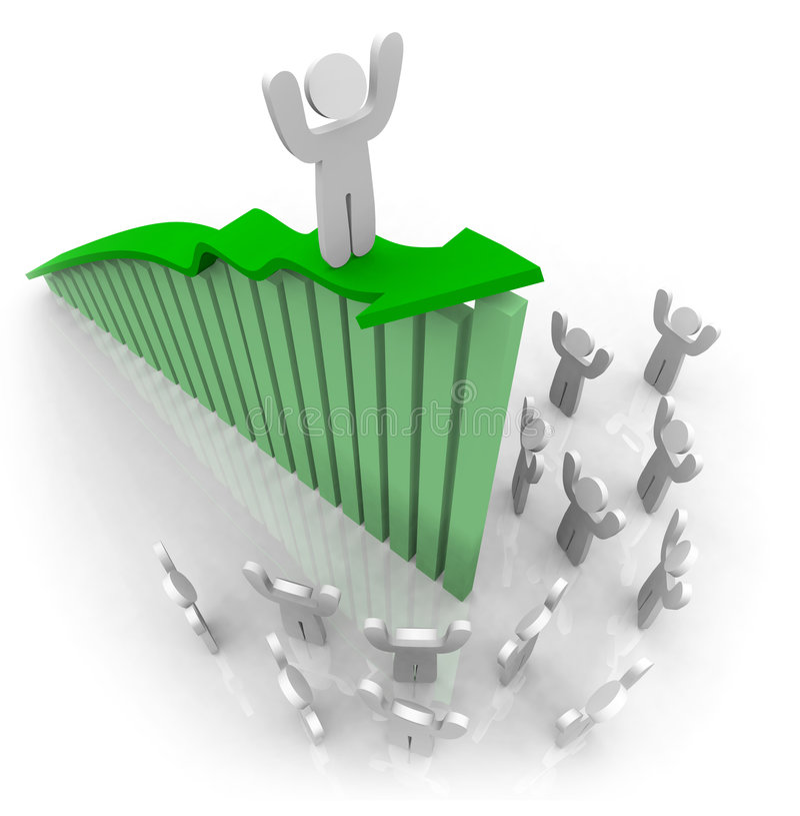 Berijdend de Pijl van de Groei - Groepswerk vector illustratie