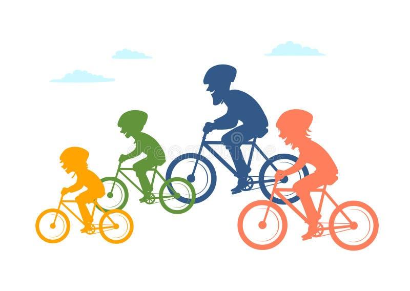 Berijdende de fietsenfietsen van de beeldverhaalfamilie, die samen geïsoleerde vectorillustratie kleurrijke silhouetten cirkelen stock illustratie