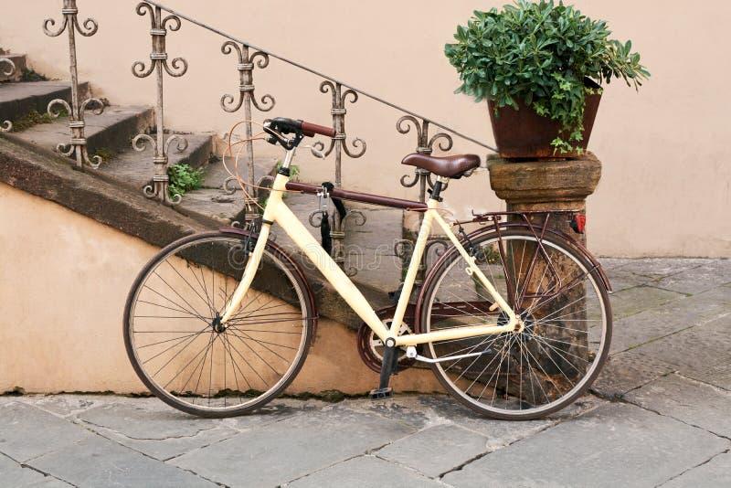 Berijdende retro, buitensporige fiets stock afbeelding