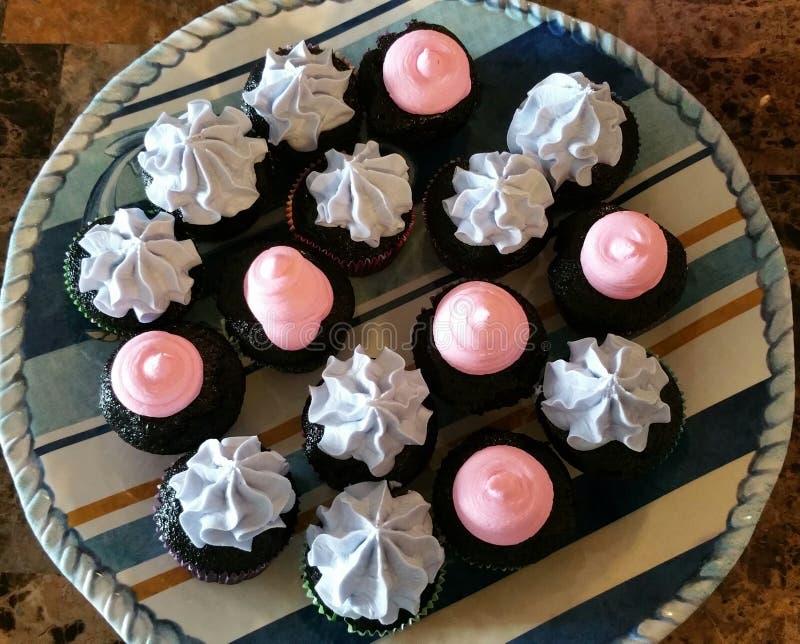 Berijpt Mini Chocolate Cupcakes met Roze en Lavendelvanille Buttercream stock afbeelding