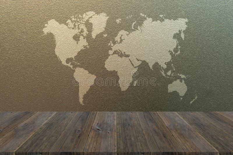 Berijpte glastextuur met houten terras met wereldkaart royalty-vrije stock foto