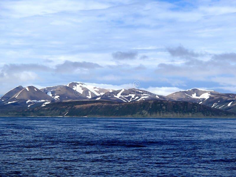 Bering Island The Bering Sea, Commander Islands. The coast of Bering Island The Bering Sea, Commander Islands royalty free stock photos