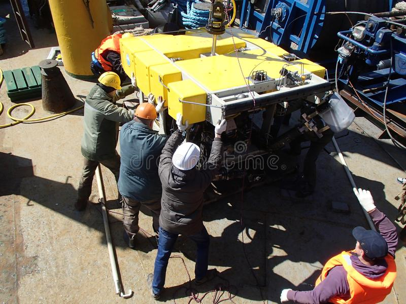 The Bering Sea / Russia - June 11 2016: ROV deployment. ROV remotely operated vehicle deployment stock photos