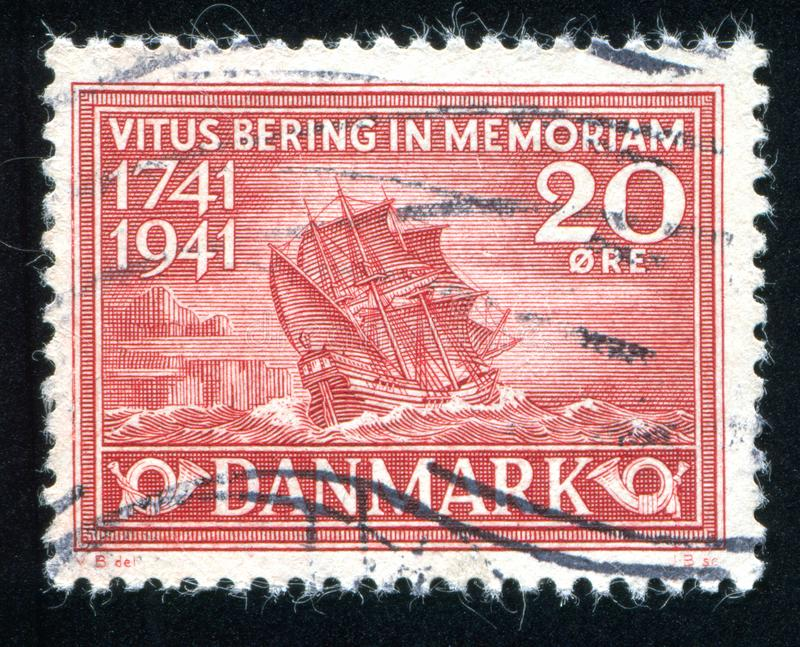 Bering Ship. DENMARK - CIRCA 1941: stamp printed by Denmark, shows Bering Ship, circa 1941 royalty free stock image