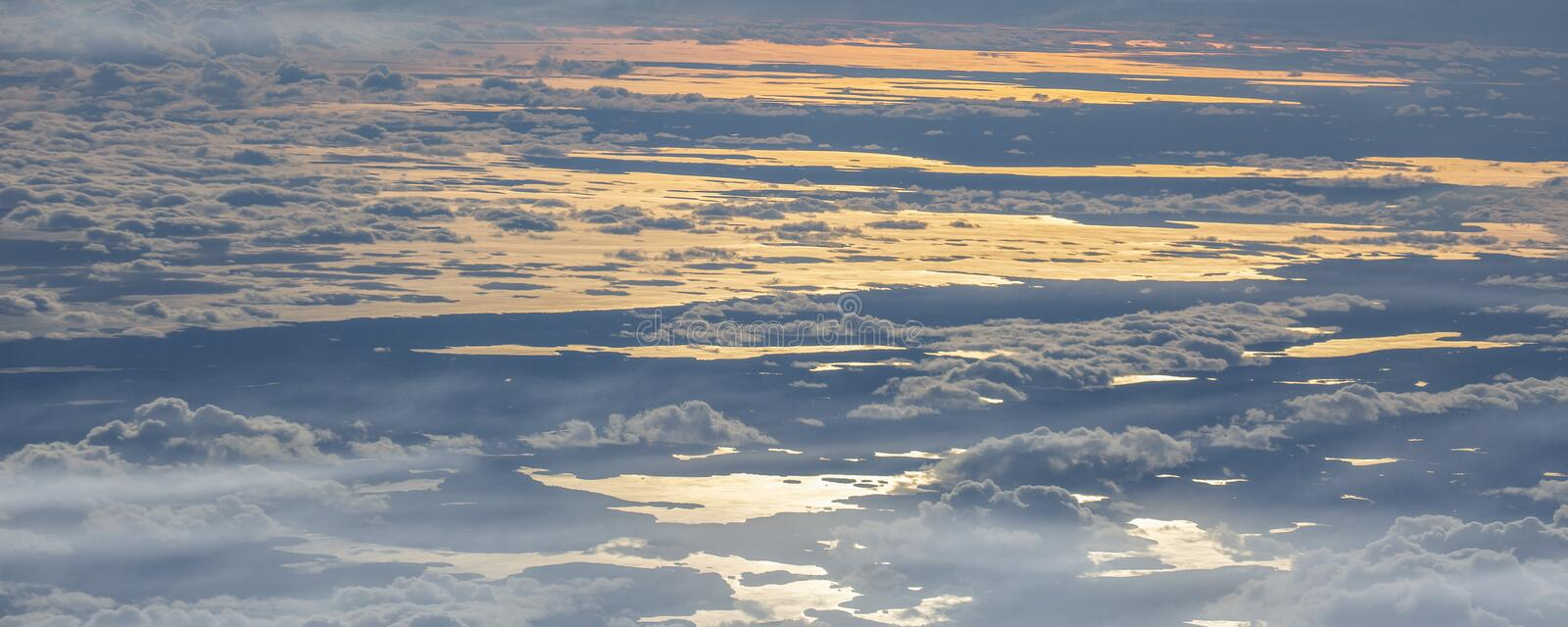 6Take an aerial view of the ice and sunrise over the bering strait.(1). The bering strait is located in the high latitudes, cold weather, many storms stock image