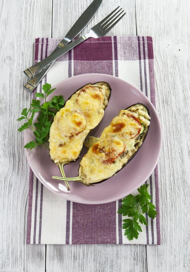 Beringela Cozida Com Vegetais E Queijo Foto de Stock Royalty Free